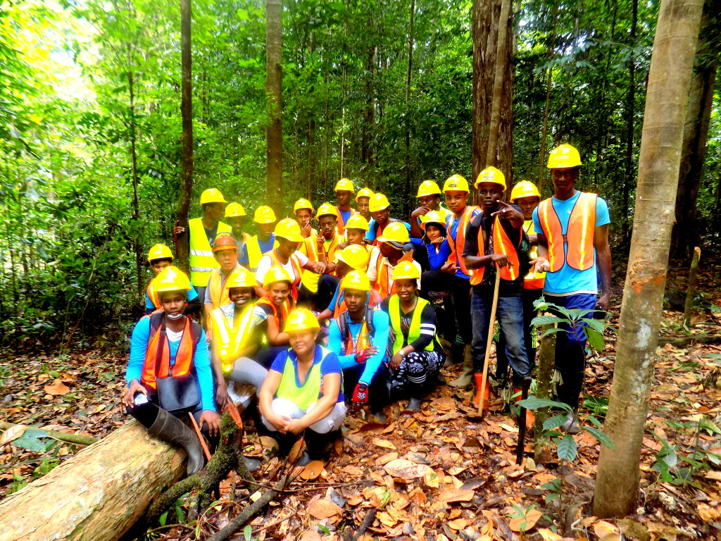 The Forestry Students along with Forestry Lecturer, Ms. Shemika Periera, of the Guyana School of Agriculture